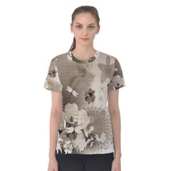 Vintage, Wonderful Flowers With Dragonflies Women s Cotton Tees