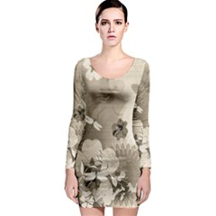 Vintage, Wonderful Flowers With Dragonflies Long Sleeve Bodycon Dresses
