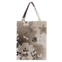 Vintage, Wonderful Flowers With Dragonflies Classic Tote Bags