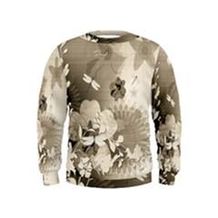 Vintage, Wonderful Flowers With Dragonflies Boys  Sweatshirts