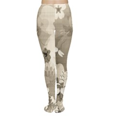 Vintage, Wonderful Flowers With Dragonflies Women s Tights