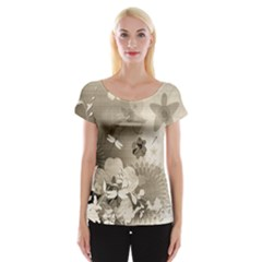 Vintage, Wonderful Flowers With Dragonflies Women s Cap Sleeve Top