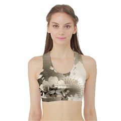 Vintage, Wonderful Flowers With Dragonflies Women s Sports Bra with Border
