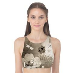 Vintage, Wonderful Flowers With Dragonflies Tank Bikini Top