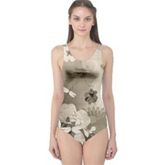 Vintage, Wonderful Flowers With Dragonflies Women s One Piece Swimsuits