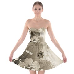Vintage, Wonderful Flowers With Dragonflies Strapless Bra Top Dress