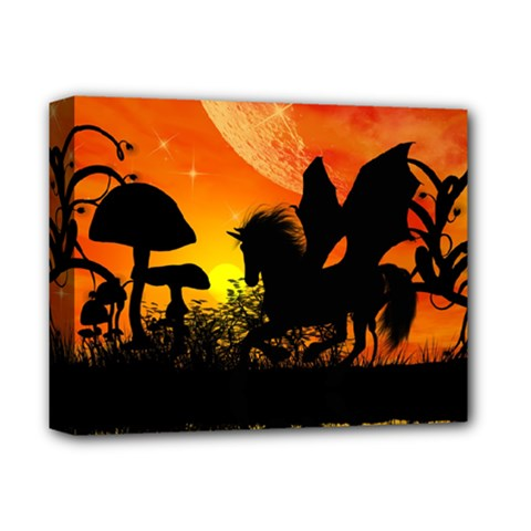 Beautiful Unicorn Silhouette In The Sunset Deluxe Canvas 14  x 11