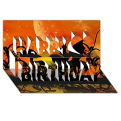 Beautiful Unicorn Silhouette In The Sunset Happy Birthday 3d Greeting Card (8x4)