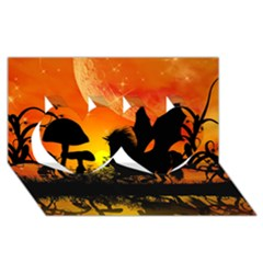 Beautiful Unicorn Silhouette In The Sunset Twin Hearts 3d Greeting Card (8x4)