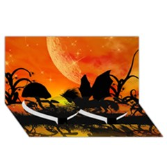 Beautiful Unicorn Silhouette In The Sunset Twin Heart Bottom 3D Greeting Card (8x4)