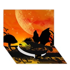 Beautiful Unicorn Silhouette In The Sunset Circle Bottom 3D Greeting Card (7x5)