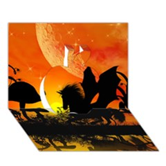 Beautiful Unicorn Silhouette In The Sunset Apple 3d Greeting Card (7x5)
