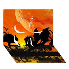 Beautiful Unicorn Silhouette In The Sunset Clover 3d Greeting Card (7x5)