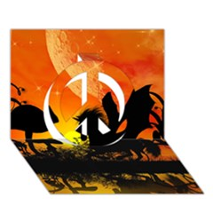Beautiful Unicorn Silhouette In The Sunset Peace Sign 3d Greeting Card (7x5)