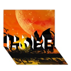 Beautiful Unicorn Silhouette In The Sunset HOPE 3D Greeting Card (7x5)