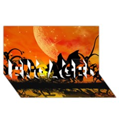 Beautiful Unicorn Silhouette In The Sunset Engaged 3d Greeting Card (8x4)