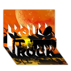 Beautiful Unicorn Silhouette In The Sunset You Rock 3D Greeting Card (7x5)