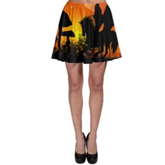 Beautiful Unicorn Silhouette In The Sunset Skater Skirts