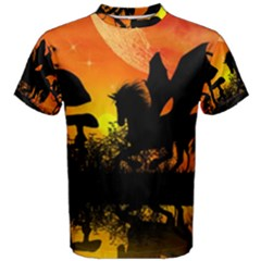 Beautiful Unicorn Silhouette In The Sunset Men s Cotton Tees