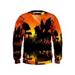 Beautiful Unicorn Silhouette In The Sunset Boys  Sweatshirts