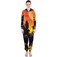 Beautiful Unicorn Silhouette In The Sunset Hooded Jumpsuit (Ladies)