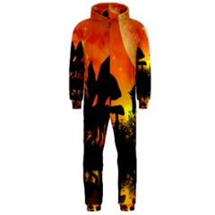 Beautiful Unicorn Silhouette In The Sunset Hooded Jumpsuit (Men)