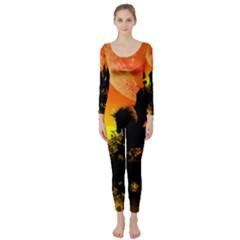 Beautiful Unicorn Silhouette In The Sunset Long Sleeve Catsuit