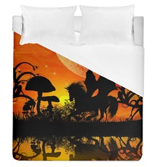 Beautiful Unicorn Silhouette In The Sunset Duvet Cover Single Side (full/queen Size)