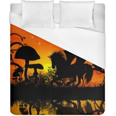 Beautiful Unicorn Silhouette In The Sunset Duvet Cover Single Side (double Size)
