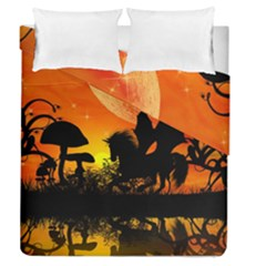 Beautiful Unicorn Silhouette In The Sunset Duvet Cover (full/queen Size)