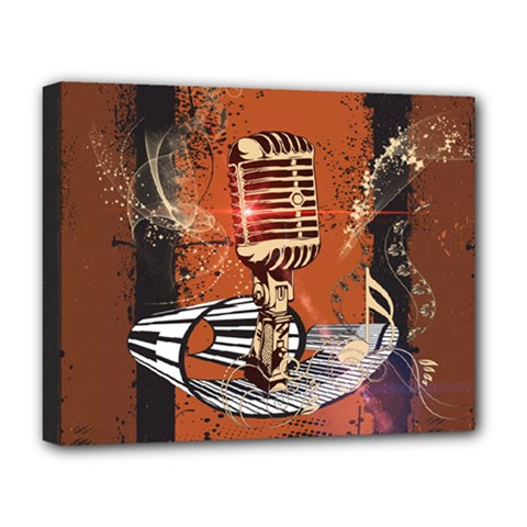 Microphone With Piano And Floral Elements Deluxe Canvas 20  x 16