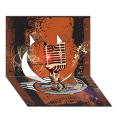 Microphone With Piano And Floral Elements Heart 3D Greeting Card (7x5)