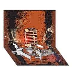 Microphone With Piano And Floral Elements Love Bottom 3d Greeting Card (7x5)