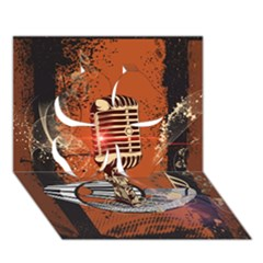 Microphone With Piano And Floral Elements Clover 3D Greeting Card (7x5)