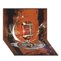 Microphone With Piano And Floral Elements Circle 3D Greeting Card (7x5)