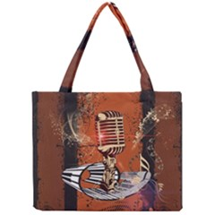 Microphone With Piano And Floral Elements Tiny Tote Bags