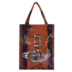 Microphone With Piano And Floral Elements Classic Tote Bags