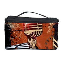 Microphone With Piano And Floral Elements Cosmetic Storage Cases