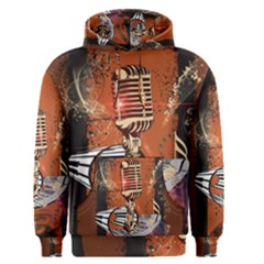 Microphone With Piano And Floral Elements Men s Pullover Hoodies