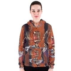 Microphone With Piano And Floral Elements Women s Zipper Hoodies