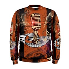 Microphone With Piano And Floral Elements Men s Sweatshirts