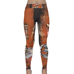 Microphone With Piano And Floral Elements Yoga Leggings