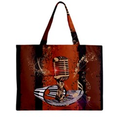 Microphone With Piano And Floral Elements Zipper Tiny Tote Bags
