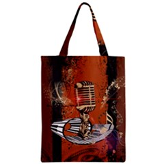 Microphone With Piano And Floral Elements Zipper Classic Tote Bags