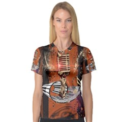 Microphone With Piano And Floral Elements Women s V-Neck Sport Mesh Tee