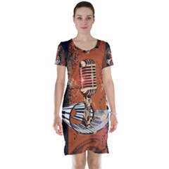 Microphone With Piano And Floral Elements Short Sleeve Nightdresses