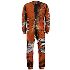 Microphone With Piano And Floral Elements Onepiece Jumpsuit (men)