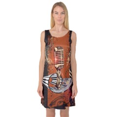 Microphone With Piano And Floral Elements Sleeveless Satin Nightdresses