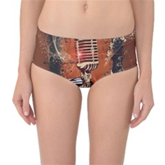 Microphone With Piano And Floral Elements Mid-Waist Bikini Bottoms