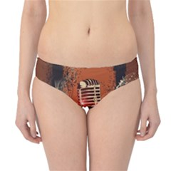Microphone With Piano And Floral Elements Hipster Bikini Bottoms